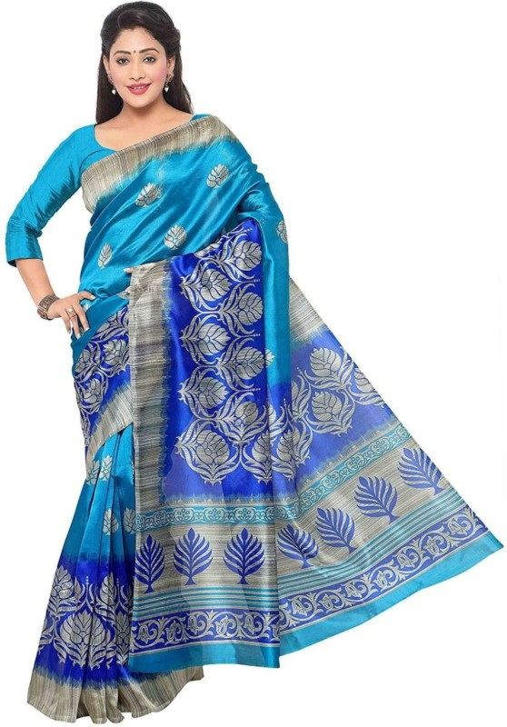 Salwar Studio Printed Bollywood Art Silk Saree(Blue)