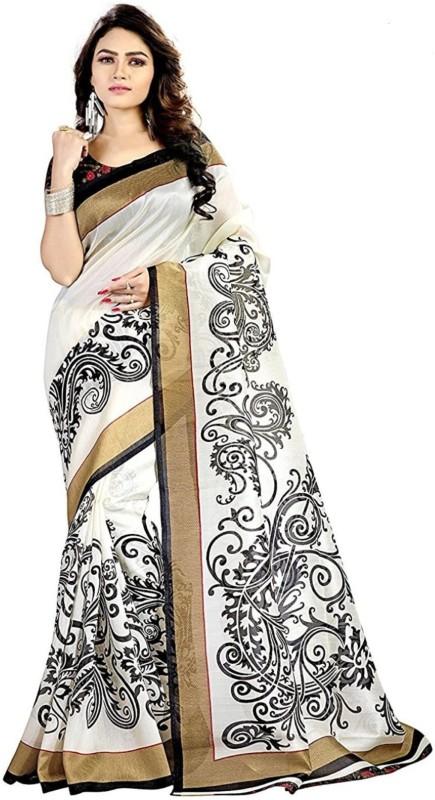 Salwar Studio Printed Bollywood Art Silk Saree(White, Black)
