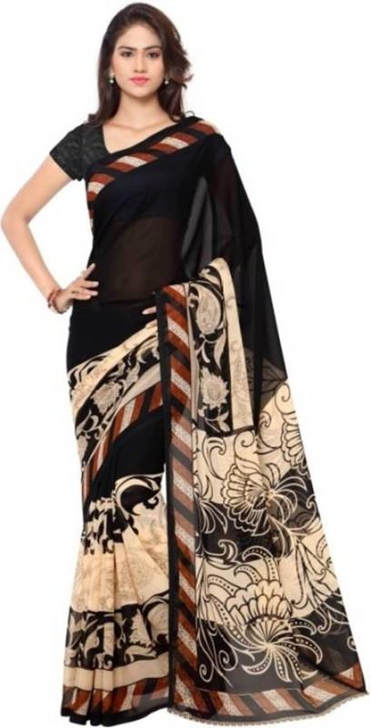 Salwar Studio Printed Bollywood Chiffon Saree(Multicolor)