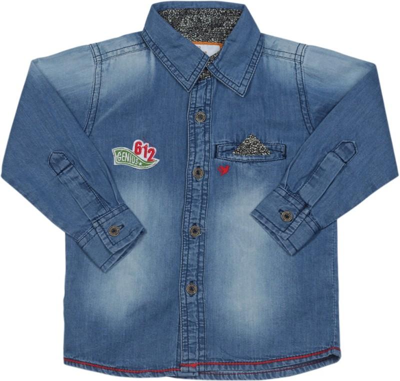 612 League Boys Solid Casual Blue Shirt