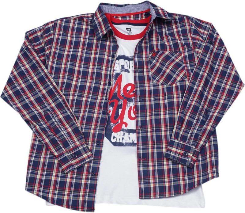 612 League Boys Checkered Casual Blue Shirt