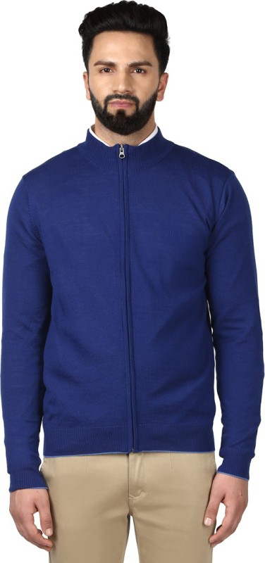 Raymond Solid Round Neck Casual Men Blue Sweater