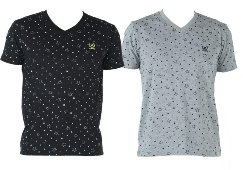 Vimal Printed Men's V-neck Multicolor T-Shirt(Pack of 2)