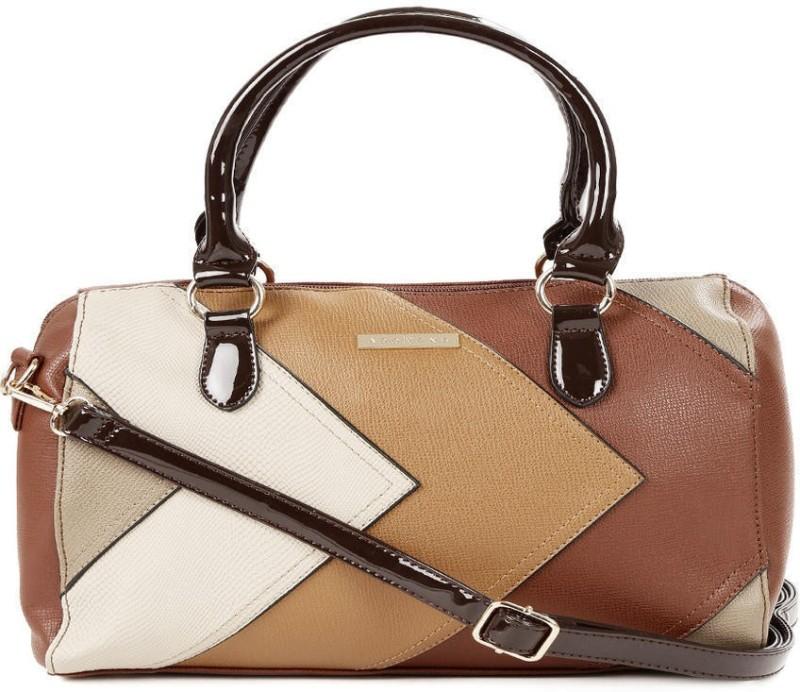 Addons chevron patchwork duffle Shoulder Bag(Brown, 5 L)