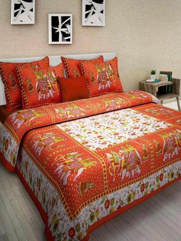 JAYOYA FAB 300 TC Cotton Double Printed Bedsheet(Pack of 1, Orange)