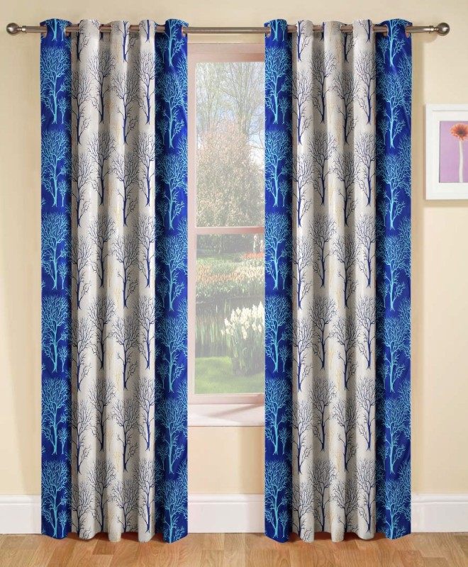 Optimistic Home Furnishing 213 cm (7 ft) Polyester Door Curtain (Pack Of 2)(Printed, Blue)