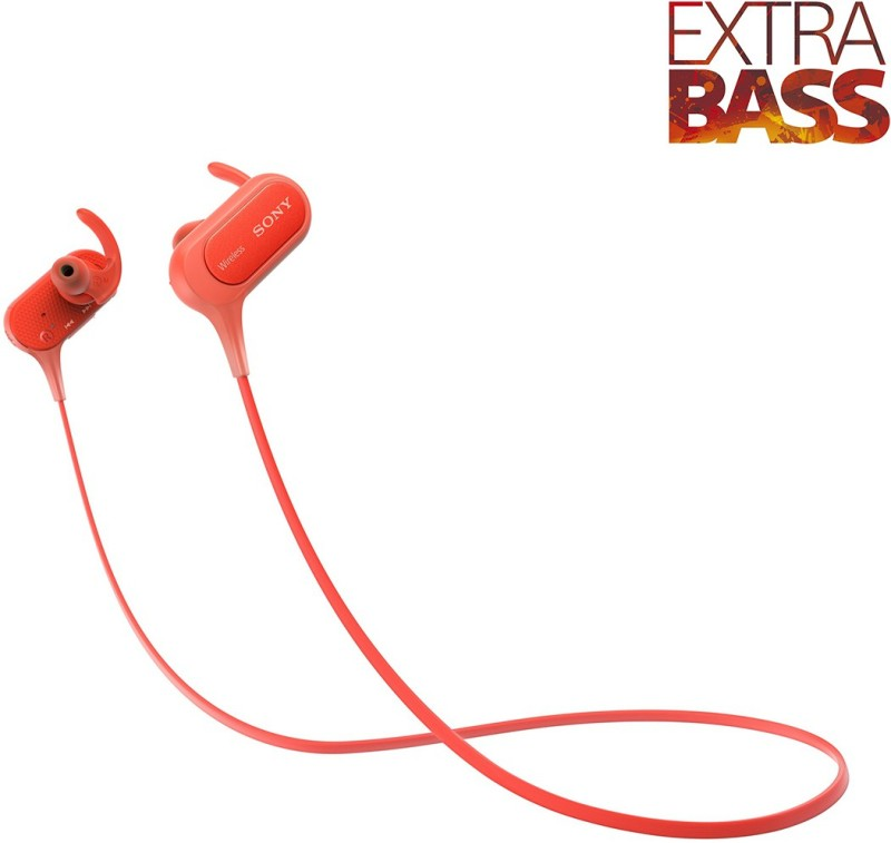 Sony MDR-XB50BSRZE Bluetooth Headset with Mic(Red, In the Ear)