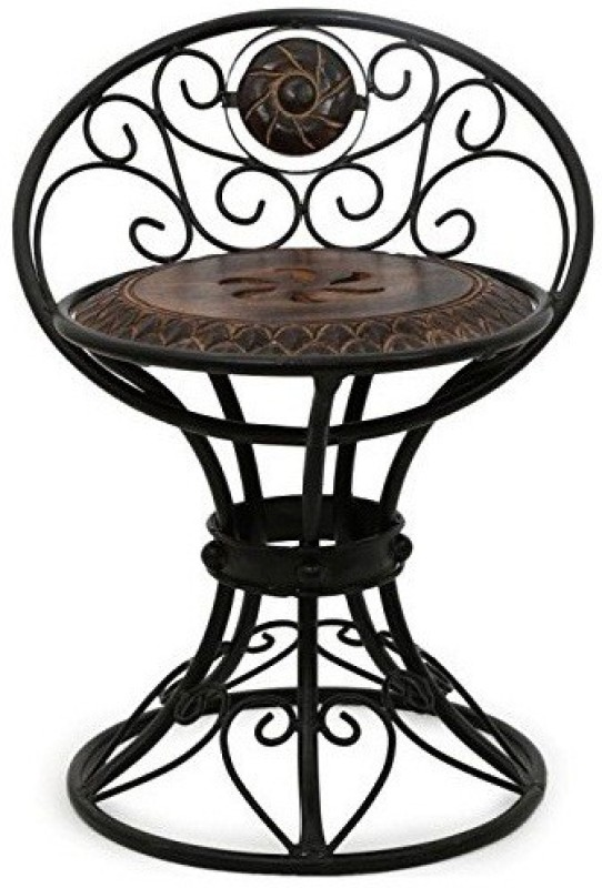 Desi Karigar Beautiful Design Wrought Iron Solid Wood Living Room Chair(Finish Color - Brown)
