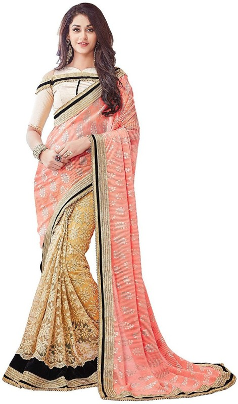 UJJWAL CREATION Embroidered Bollywood Lycra, Net Saree(Pink, Beige)