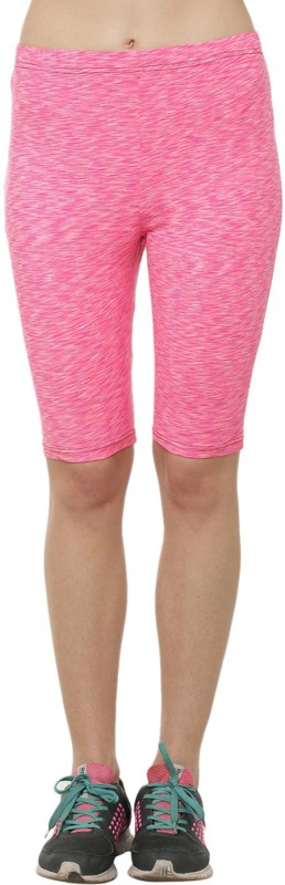 Clovia Striped Women's Pink Cycling Shorts, Sports Shorts, Running Shorts