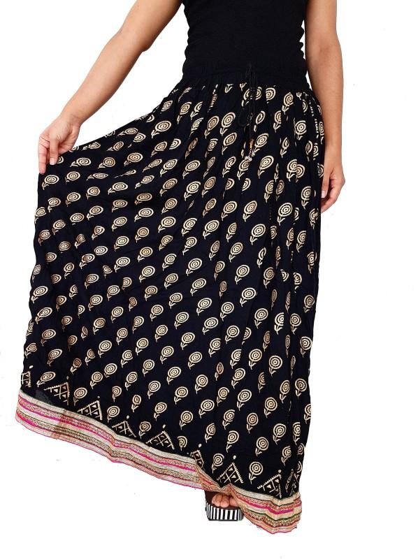 Unikstop Printed, Floral Print, Graphic Print Women's Regular Black, Gold Skirt