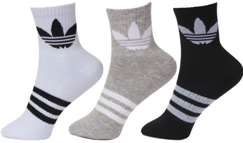 Adidas Men & Women Floral Print Ankle Length Socks(Pack of 3)
