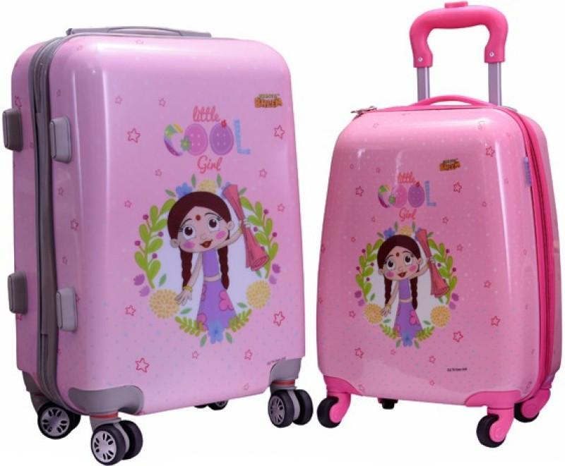 Fortune Chhota Bheem Chutki Littile Cool Girl set of 16+20 Inch Luggage trolley Bag Expandable Cabin Luggage - 17.20 inch(Multicolor)