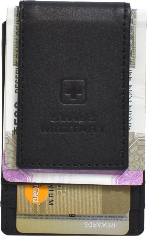 Swiss Military Men Black Genuine Leather Money Clip(1 Card Slot)