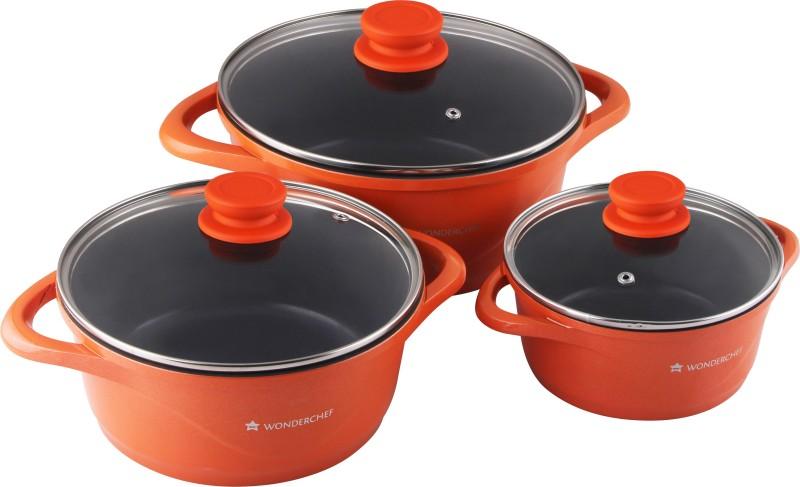Wonderchef Ceramide Orange Pack of 3 Casserole Set(1200 ml, 2300 ml, 3900 ml)