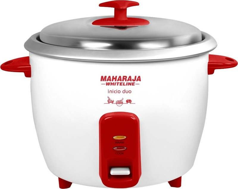 Maharaja Whiteline Inicio DUO (RC -102) Electric Rice Cooker with Steaming Feature(1.8 L, White, Red)