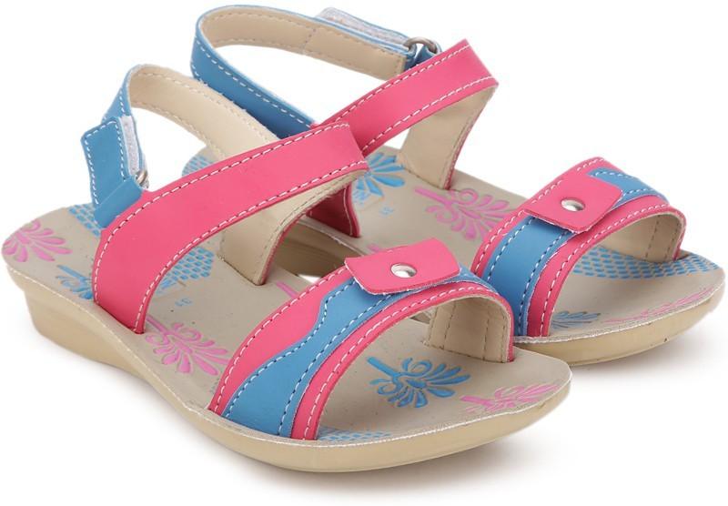 Footfun Girls Velcro Strappy Sandals(Pink)
