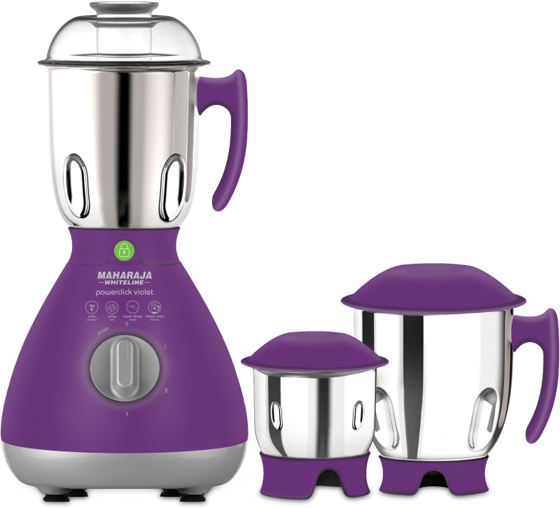 Maharaja Whiteline Powerclick violet (MX-164) 750 W Mixer Grinder(Violet and Silver, 3 Jars)
