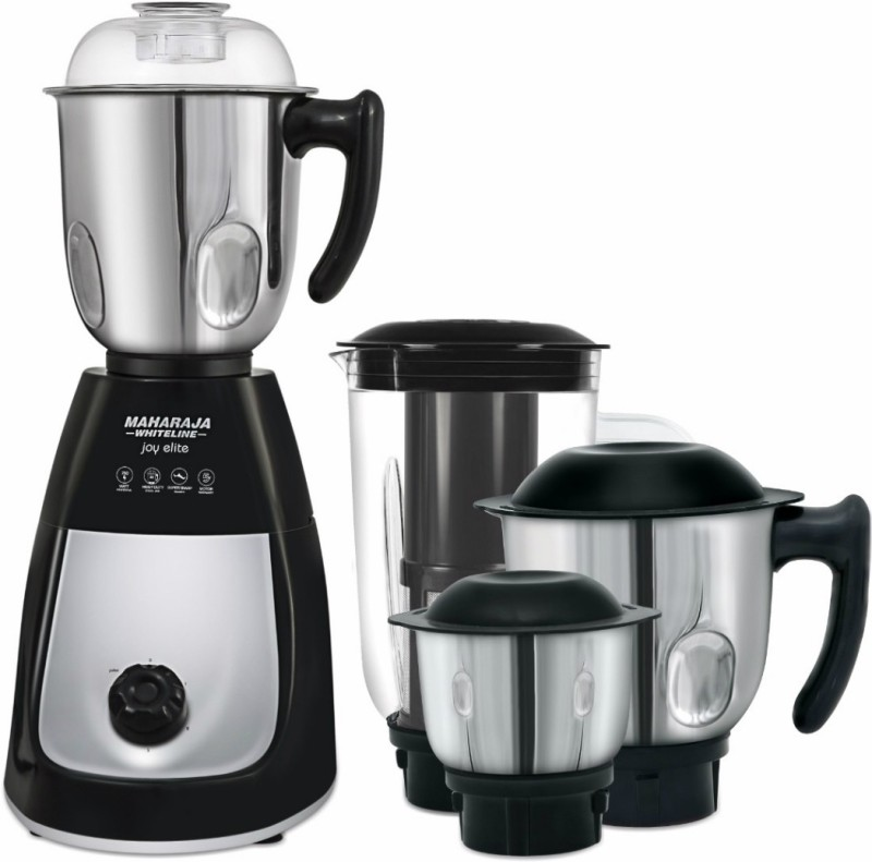 Maharaja Whiteline MX-166 Joy elite ( MX 166) 750 W Mixer Grinder(Black and Silver, 4 Jars)