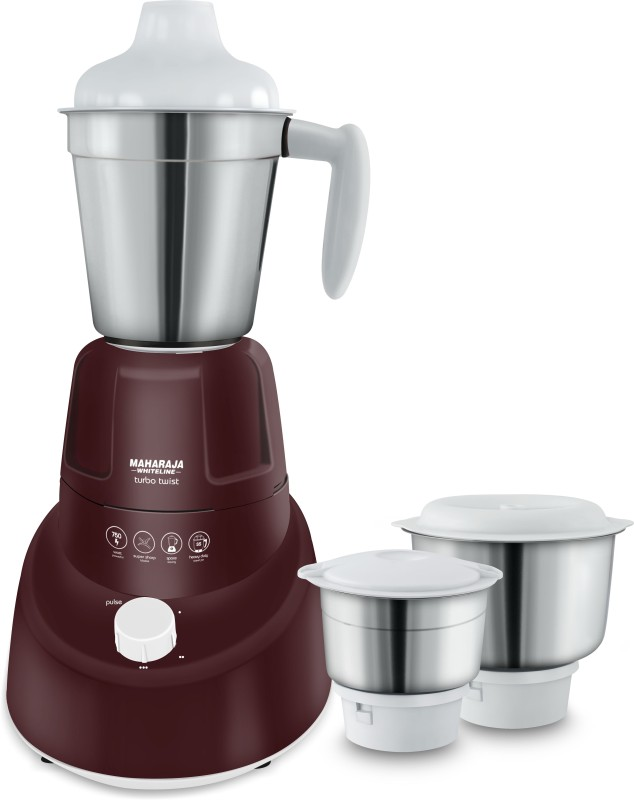 Maharaja Whiteline MX- 174 Turbo twist ( MX 174) 750 W Mixer Grinder(Burgundy Color, 3 Jars)