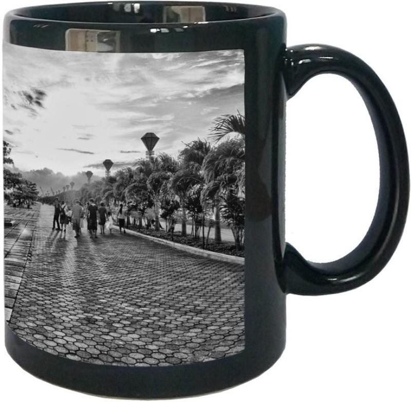 Arkist baywalk puerto princesa city 2 wallpaper x16 Black Ceramic Mug(340 ml)