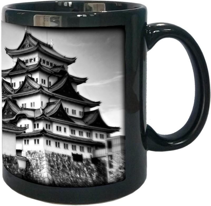 Arkist nagoya castle in black and white wallpaper x Black Ceramic Mug(340 ml)