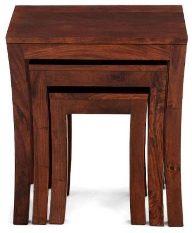 Wood Mania Solid Wood Nesting Table(Finish Color - Honey, Set of - 3)