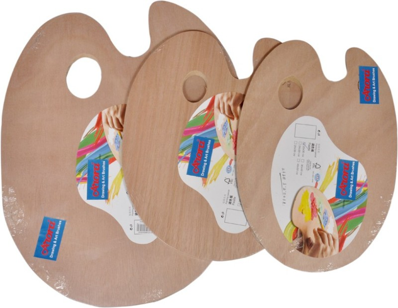 Arora Wooden 10 Paint Wells Palettes  with Lid(Set of 3, Multicolor)