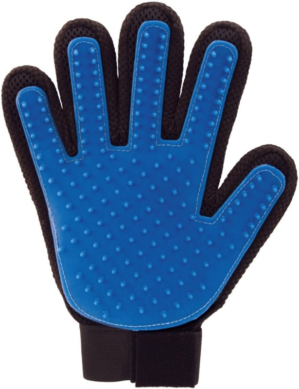 Goofy Tails Five Finger Deshedding Grooming Gloves for Dog, Cat(Blue, Fits All)