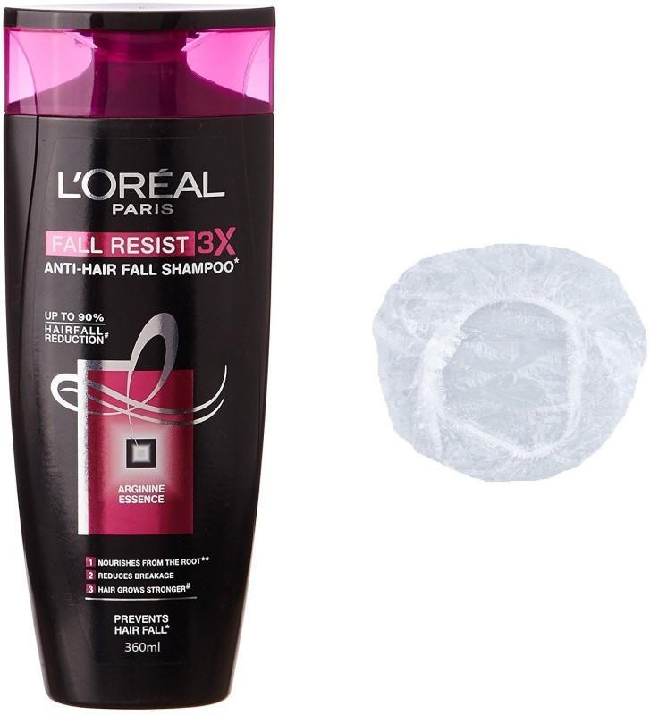 L'Oreal Paris Imported Fall Resist 3x Anti-Hair Fall Shampoo 360ml+Shower Cap(Set of 2)