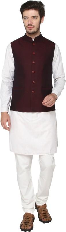 Jade Blue Sleeveless Solid Men's Nehru Jacket