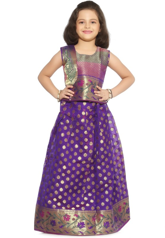 Bhartiya Paridhan Baby Girls Lehenga Choli Ethnic Wear Self Design Lehenga Choli(Multicolor, Pack of 1)
