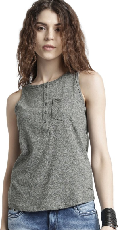 Roadster Casual Sleeveless Solid Women Grey Top