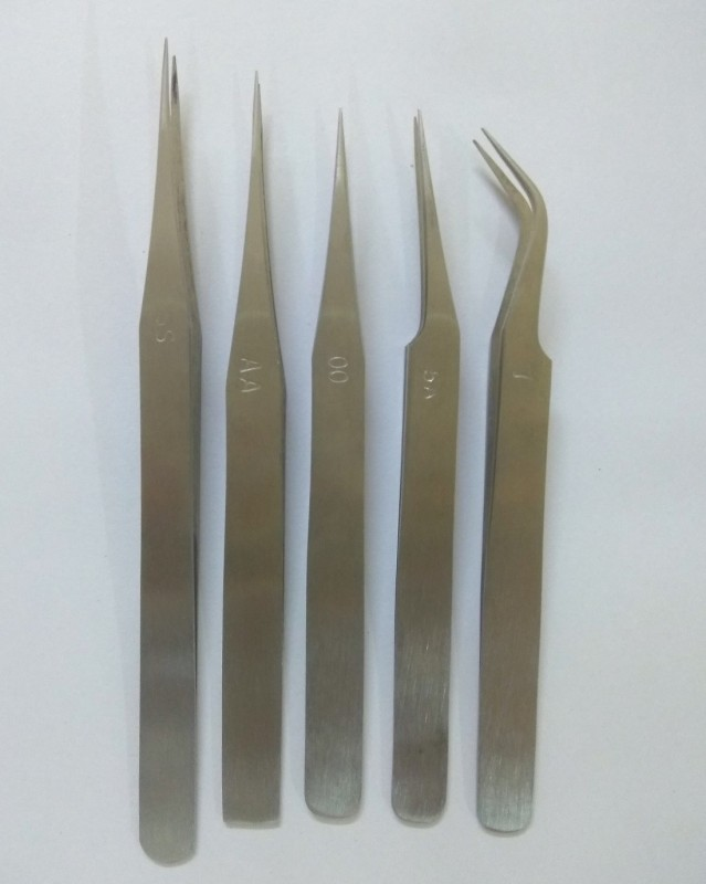 amicikart Non-Magnetic Stainless Steel Tweezers Set of 5Pcs