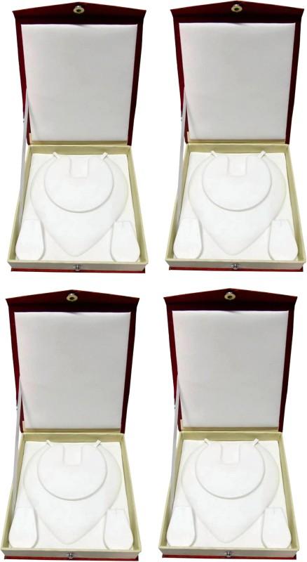 Atorakushon Pack of 4 Pcs Multipurpose Necklace Earring bangle bracelet half set box Jewelry Makeup Vanity Pouch (Maroon) Storage Case Vanity Box(Maroon)