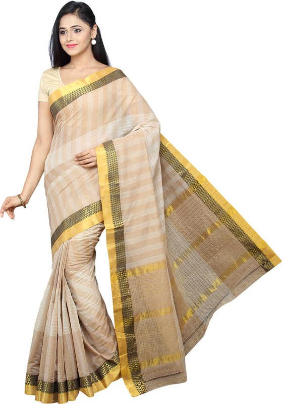 Pavechas Checkered Venkatagiri Pure Cotton Saree(Beige)