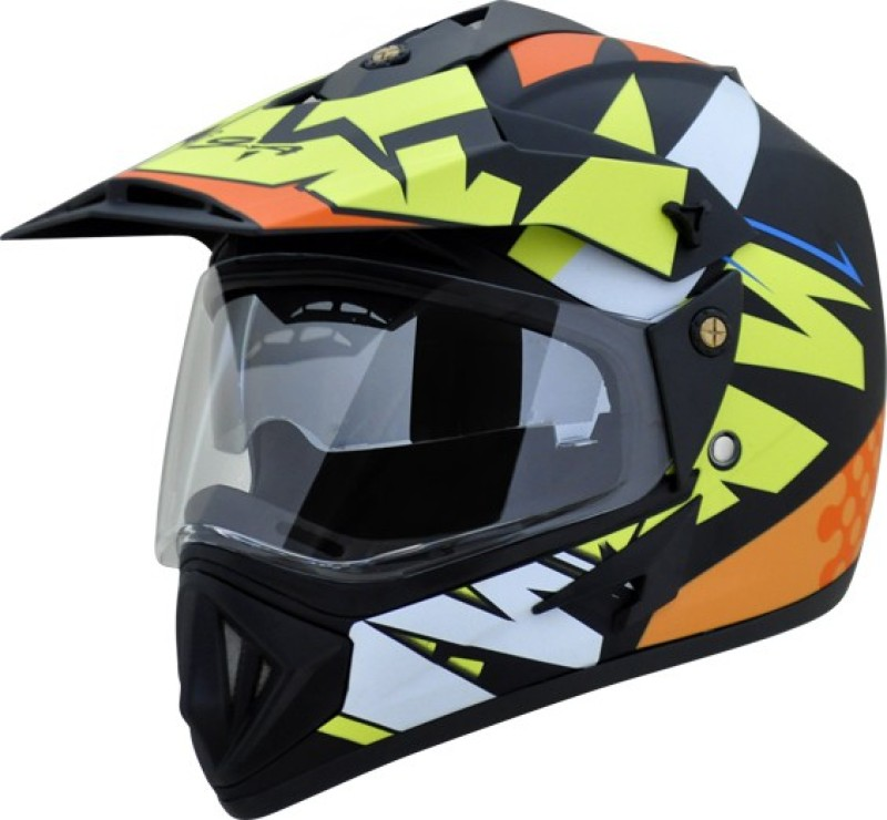 VEGA Off Road Thunder DV Motorbike Helmet(Dull Black Yellow)