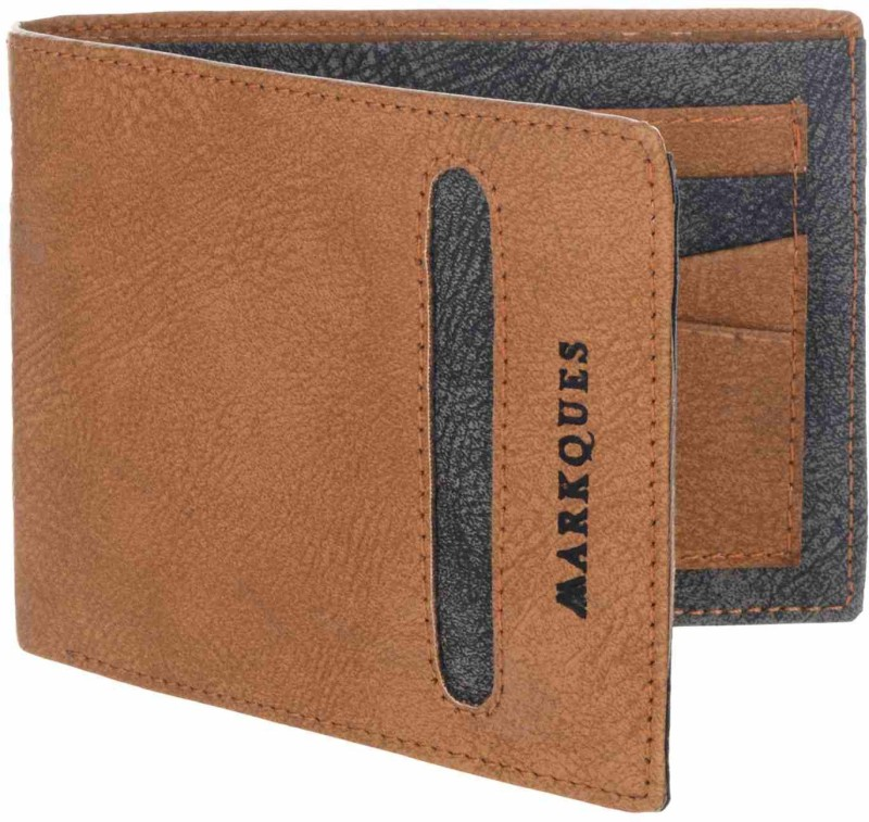 MARKQUES Men Tan Artificial Leather Wallet(9 Card Slots)