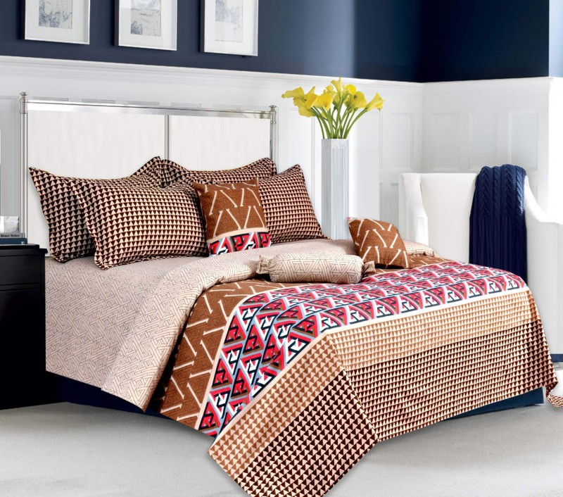 Salona Bichona 104 TC Cotton Double King Abstract Bedsheet(1 King Size Bedsheet, 2 Pillow covers, Brown)