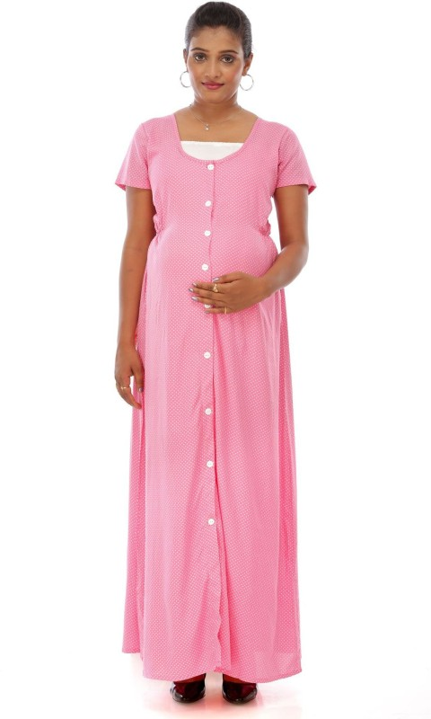 Ziva Maternity Wear Women Nighty(Pink)