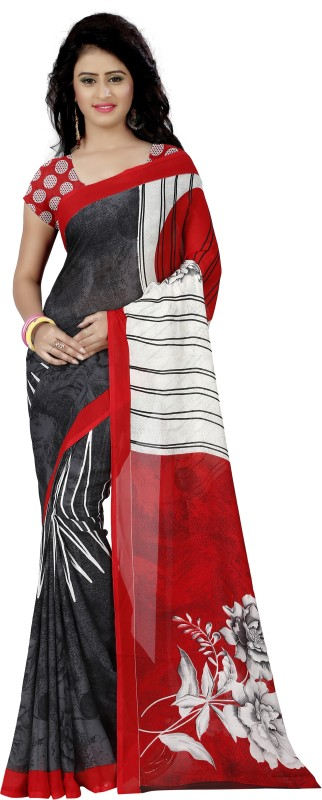Anand Sarees Printed Fashion Faux Georgette Saree(Red)