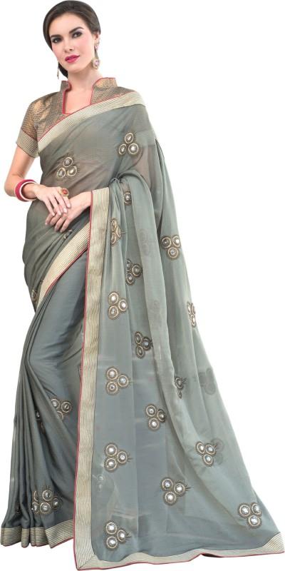 Darshita International Embroidered Fashion Poly Viscose Chiffon Saree(Grey)