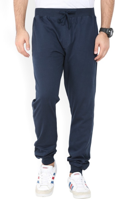 John Players Solid Mens Dark Blue Track Pants