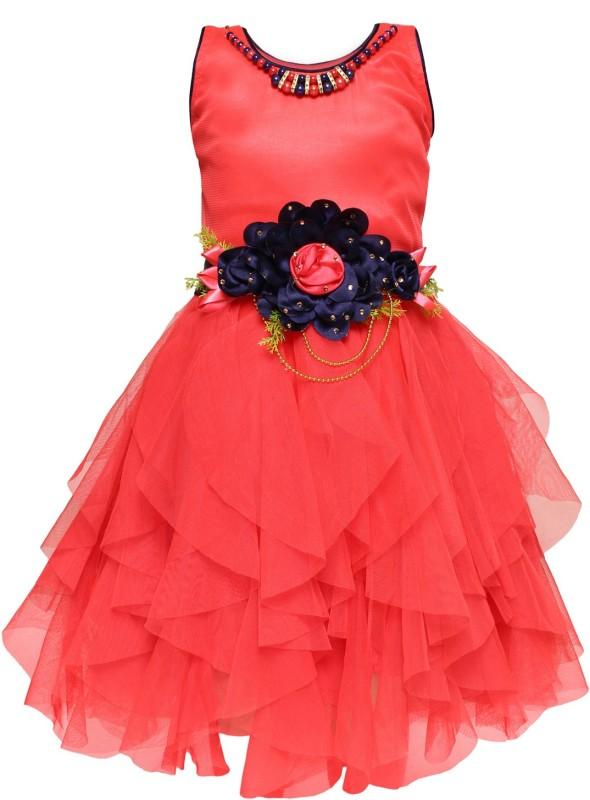 Arshia Fashions Girls Midi/Knee Length Party Dress(Pink, Sleeveless)