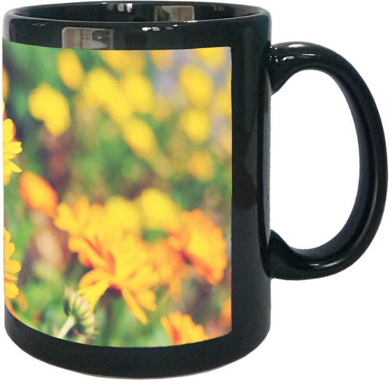 Arkist orange flowers orcas island Black Ceramic Mug(340 ml)