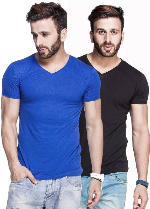 Himgiri International Solid Men V-neck Multicolor T-Shirt