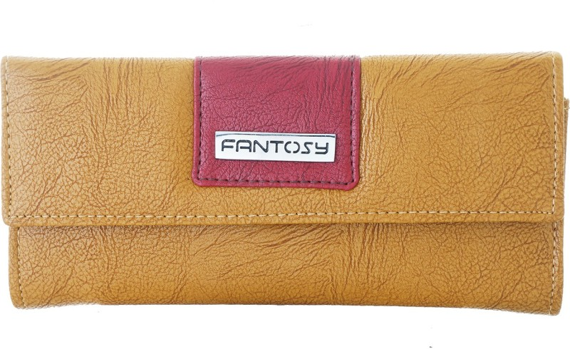 Fantosy Women Tan Artificial Leather Wrist Wallet