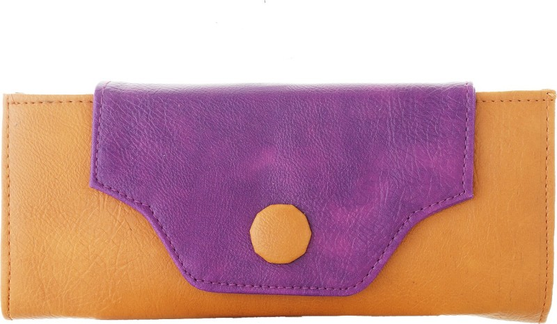 Fantosy Women Tan, Purple Artificial Leather Wrist Wallet(8 Card Slots)