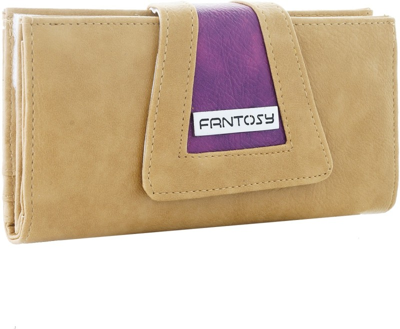 Fantosy Women Beige Artificial Leather Wrist Wallet(4 Card Slots)