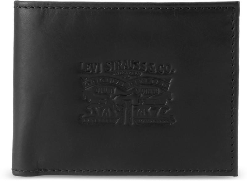 Levi's Men Black Genuine Leather Wallet(4 Card Slots)